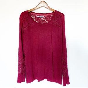 Maurice's Long Sleeve Blouse W Lace Size 1X